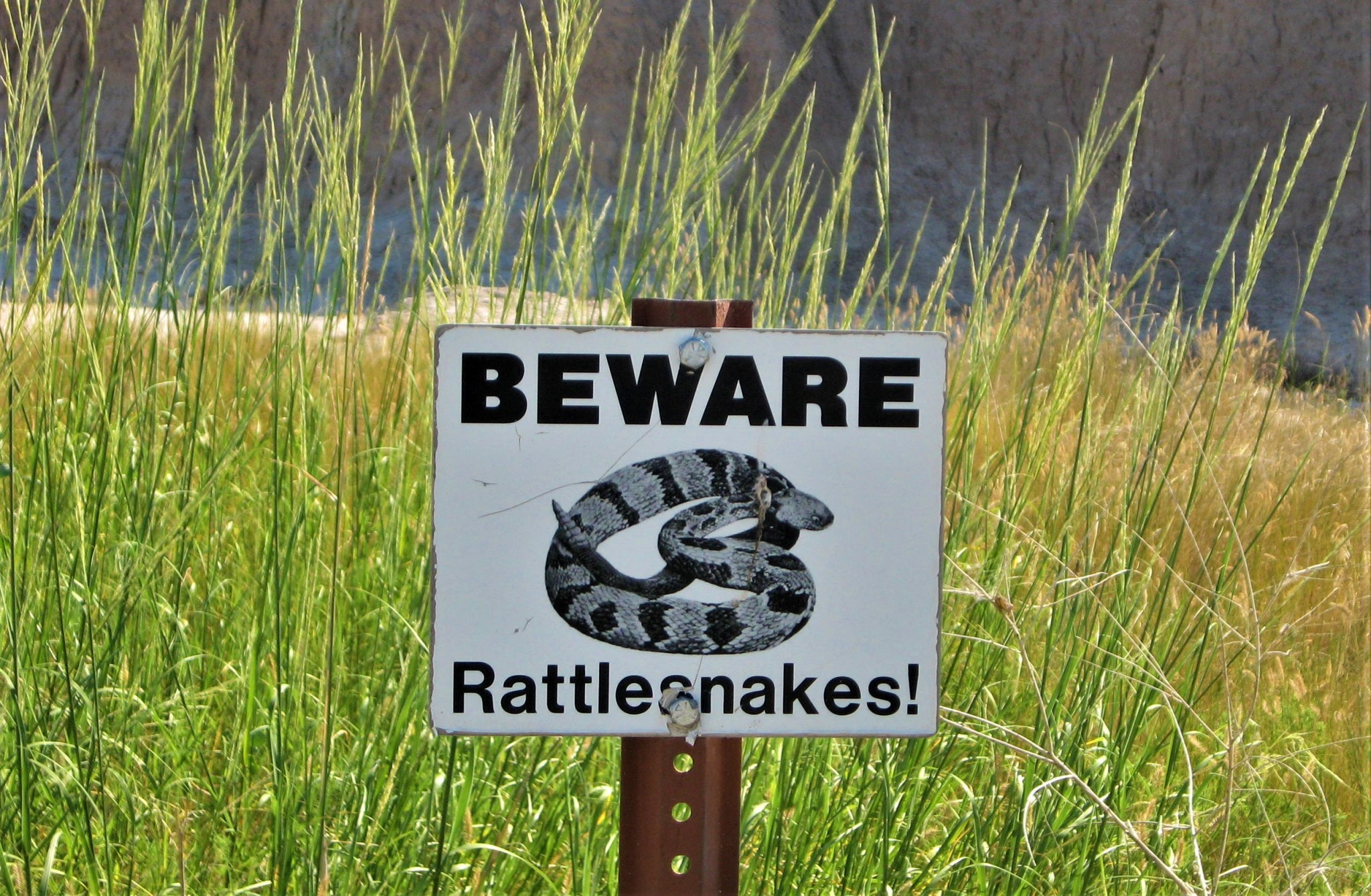 Badlands,rattlesnakes sign!